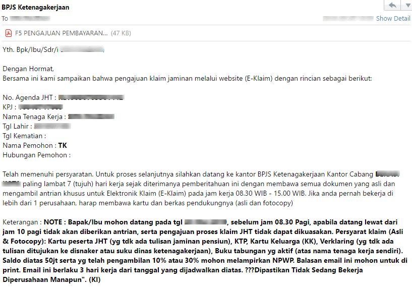Tampilan email BPJS Ketenagakerjaan